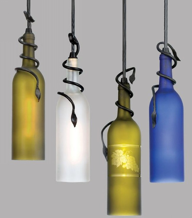 Recycled Glass Bottles Pendant Light Lamp