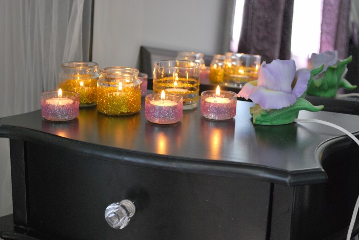 Recycled Glittered Candle Holders