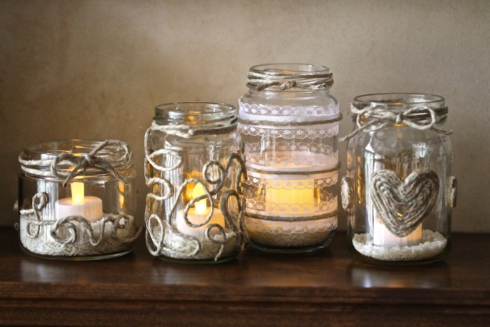 Recycled Jars Candle Hoders