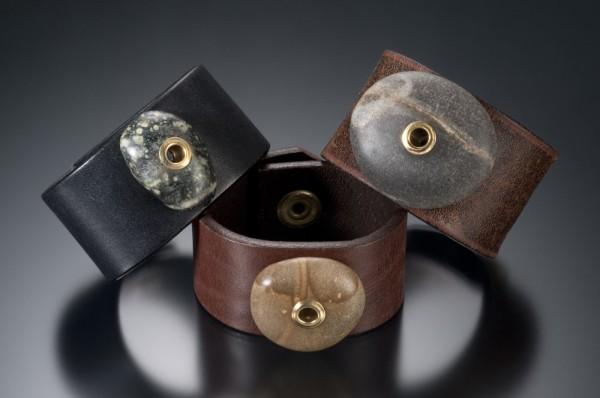 Recycled Leather Belt into Jewelry Bracelet