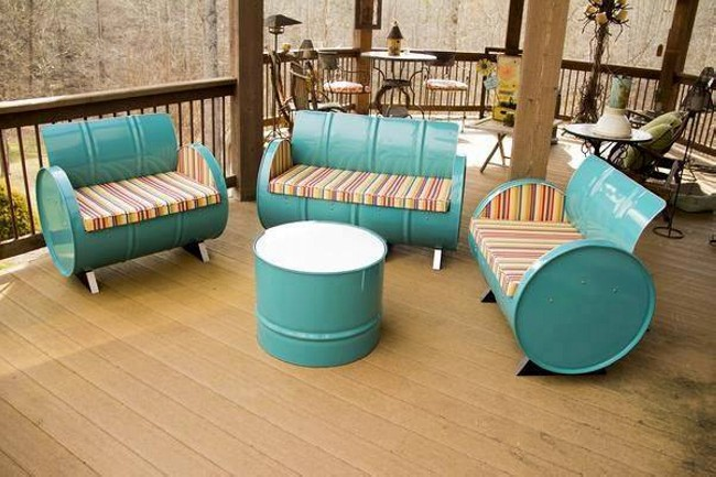 Recycled Metal Drums Furniture Project
