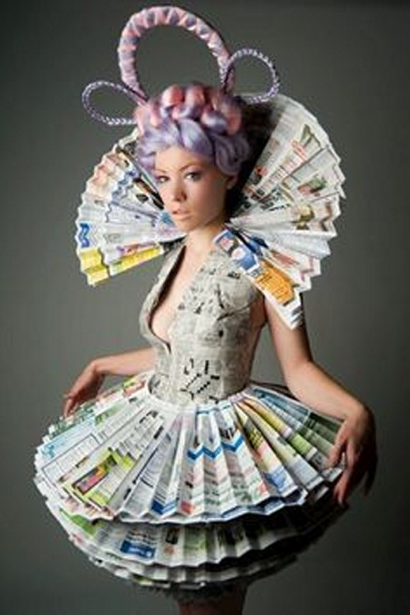 Recycled newspaper innovative lady dresses recycled things - How to reuse magazines seven inspired ideas ...