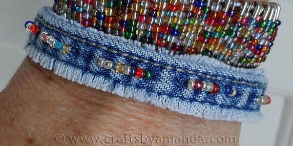 Recycled Old Denim Jeans Beautiful Bracelet