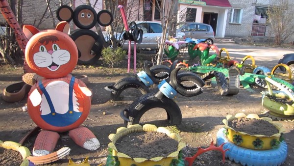 Recycled Old Tires Kids Playground