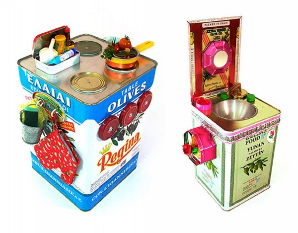 Recycled Olive Tin Can  Kid Toys