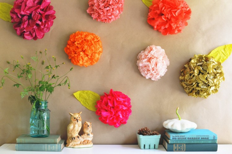 Recycled Paper Beautiful Flowers for Wall Decorating