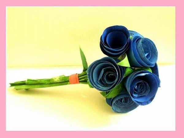 Recycled Paper Blue Rose