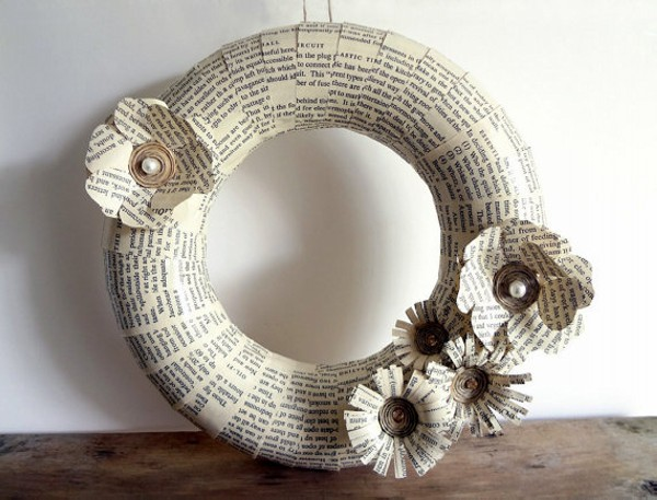 Recycled Paper into Wreath