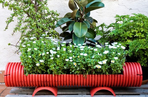 Recycled Pipe Garden Planter