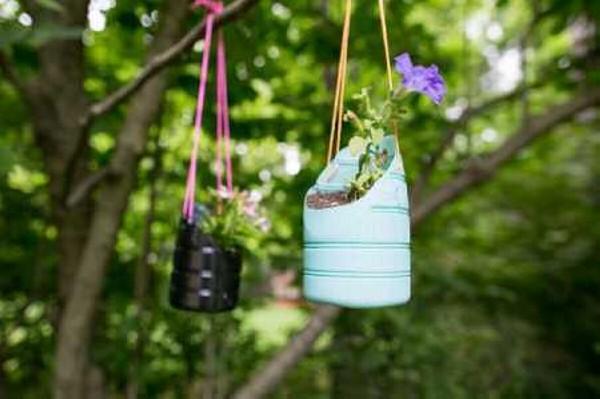 Recycled Plastic Bottles Flower Pots Hanging