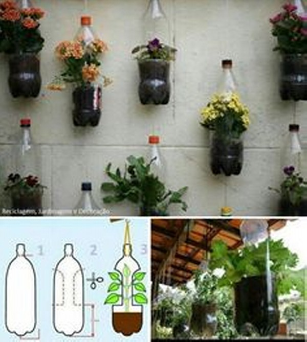 Recycled plastic bottles gardening ideas recycled things for Home decor using plastic bottles