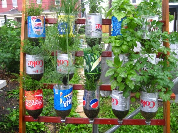Recycled plastic bottles gardening ideas recycled things for How to use wine bottles in the garden