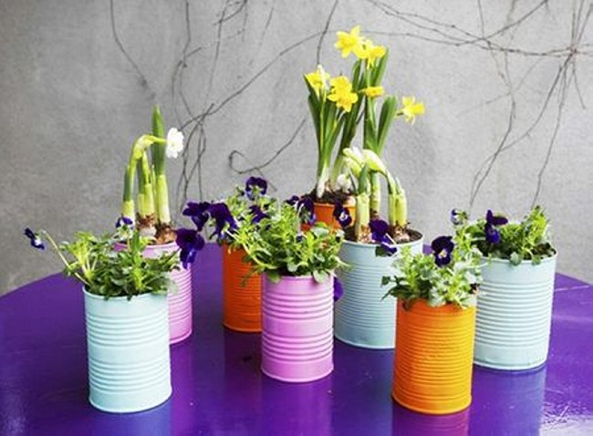 Recycled Tin Cans Awesome Flower Pots