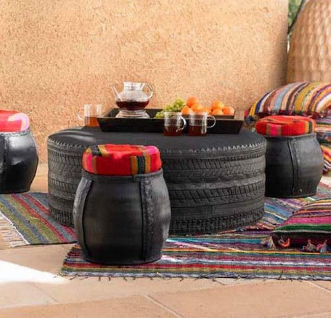 Recycled Tires Modern Furniture Table