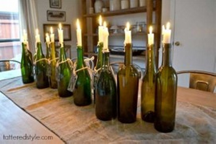 Recycled Wine Bottles Candle Holders