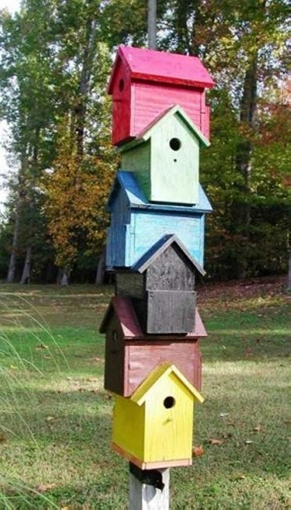 Recycled Wooden Birdhouses for Garden Decor