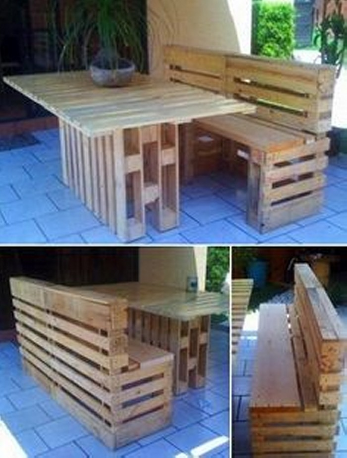 Patio furniture made from recycled wooden pallets for Table exterieur palette