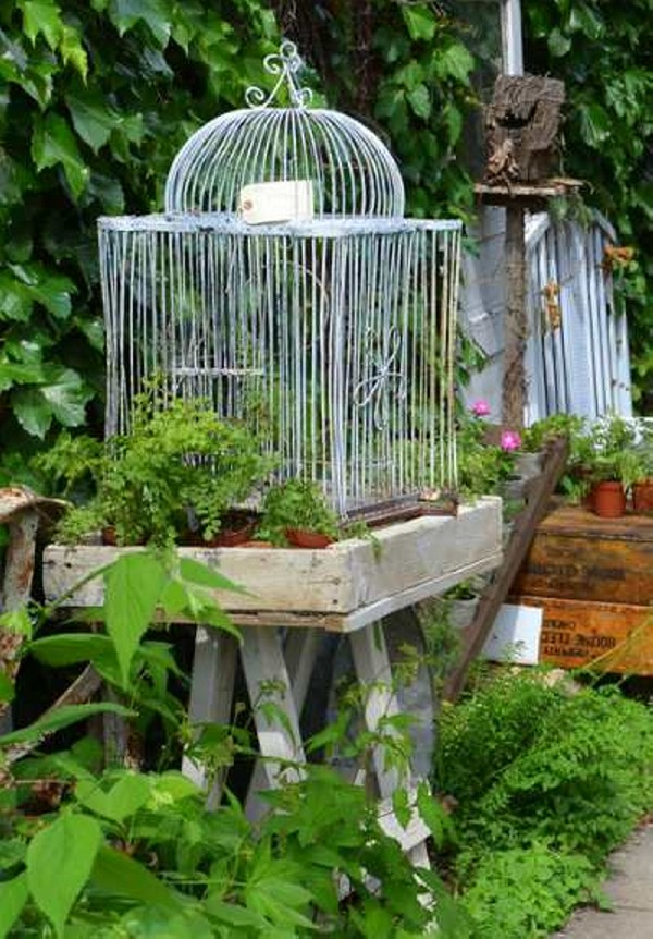 Repurposed bird cages outdoor decorating recycled things - Decoration cage oiseau ...