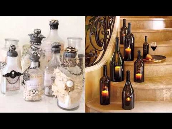 Repurposed glass bottles into creative decorations for Recycled home decorations
