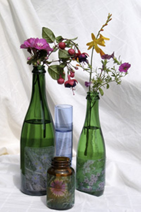 Repurposed Glass Bottles Decoratings