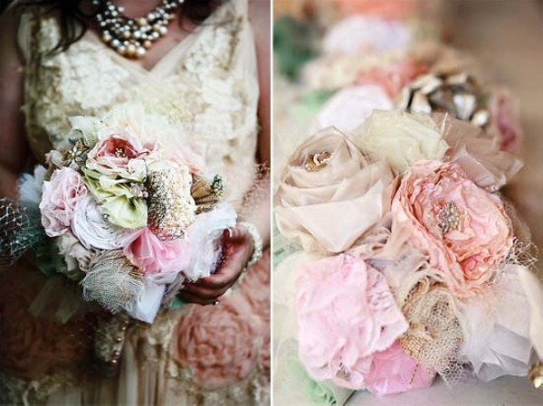 Upcycled Fabric Flowers Bouquets