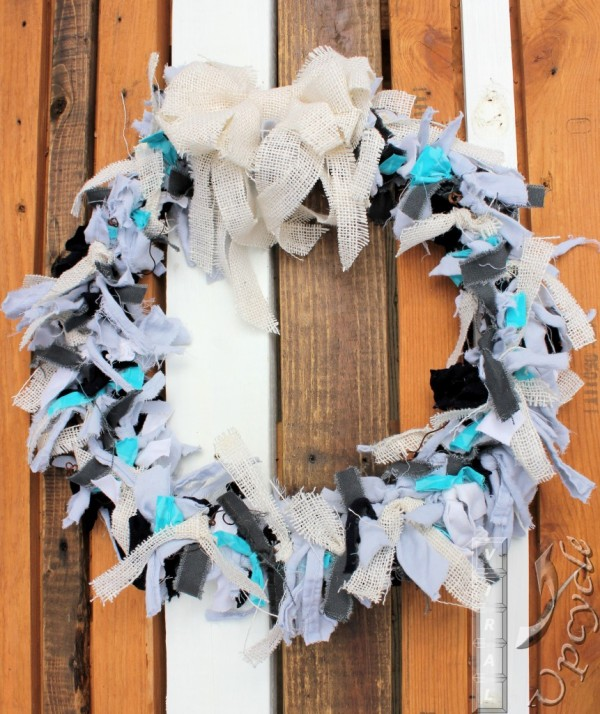 Upcycled Fabrics Wreath