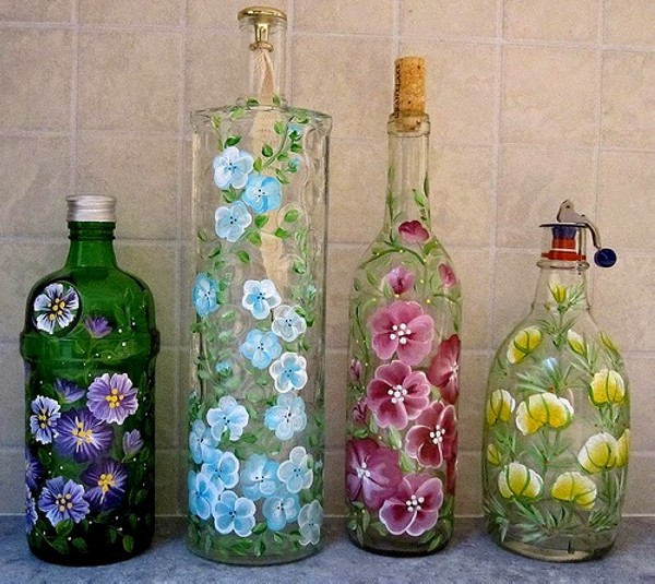 Upcycled Glass Bottles Decorating