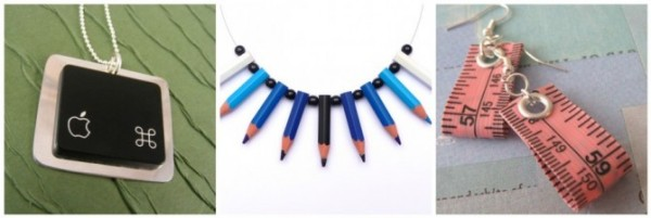 Upcycled Jewelry Necklace & Earrings