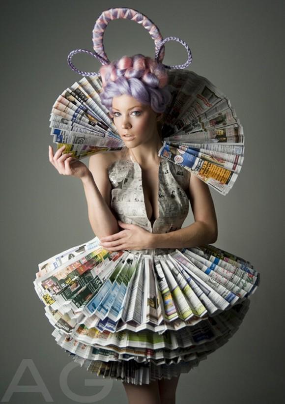 Upcycled Newspaper Elegant Dress