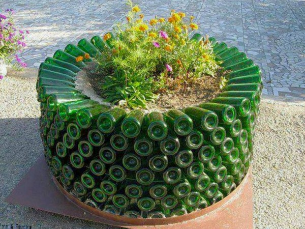 Upcycled Wine Bottles Garden Planters