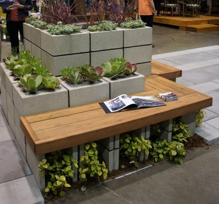 Concrete Blocks Upcycled Modren Furniture Bench