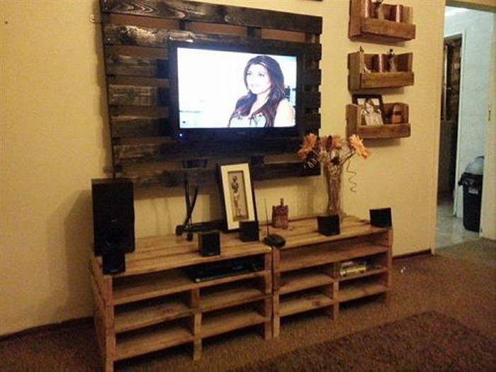 Tv stands from wooden pallet recycled things - Home tv stand furniture designs ...
