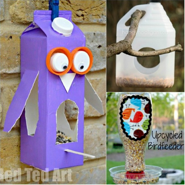 Diy recycled bird feeders recycled things for Diy from recycled materials