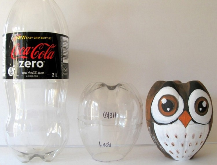DIY Recycled Plastic Bottle Owl