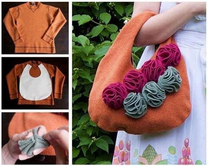 DIY Recycled Sweater Handbag