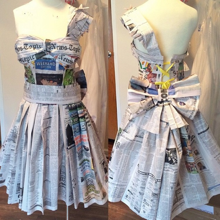 DIY Reuse Newspaper Dress