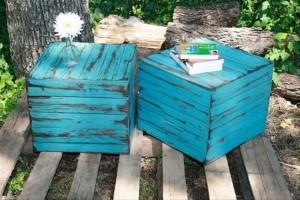 Pallet Blue Side Tables