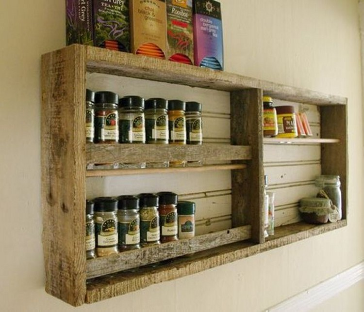 Kitchen shelves made from wooden pallet recycled things for Meuble mural palette