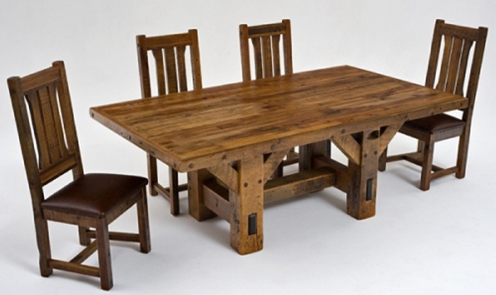 Reclaimed wood dining table designs recycled things for Wooden dining table and chairs