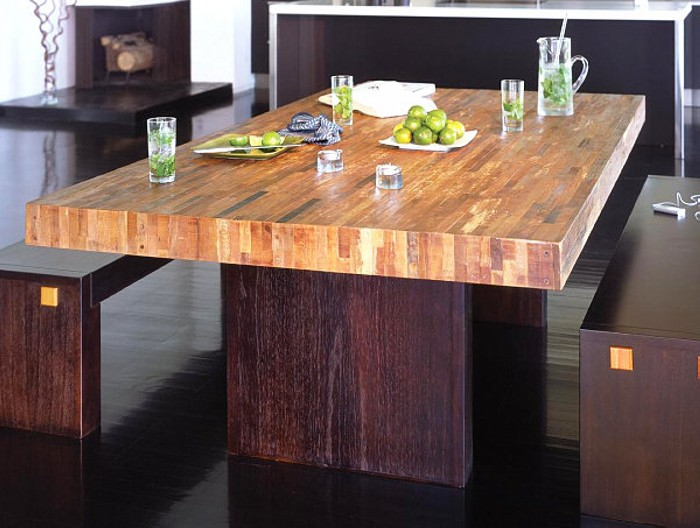 Reclaimed wood dining table designs recycled things for Modern wooden dining table designs