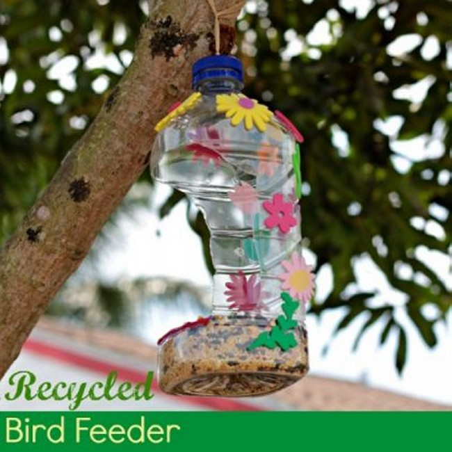 Diy recycled bird feeders recycled things for How to make a bird feeder using a plastic bottle