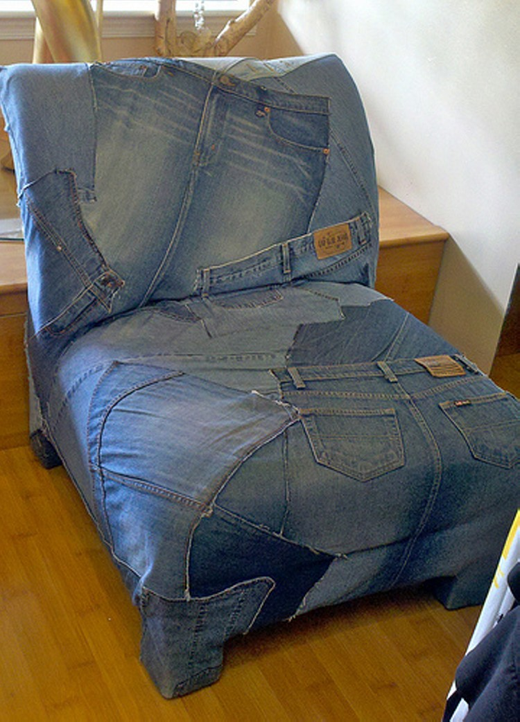 Recycled Blue Denim Sofa Cover