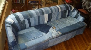 Recycled Blue Jeans Sofa Cover