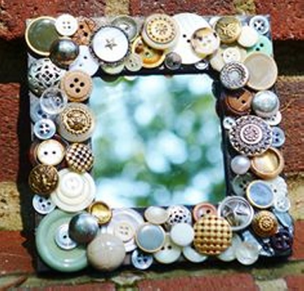 Recycled Buttons Mirror Decor