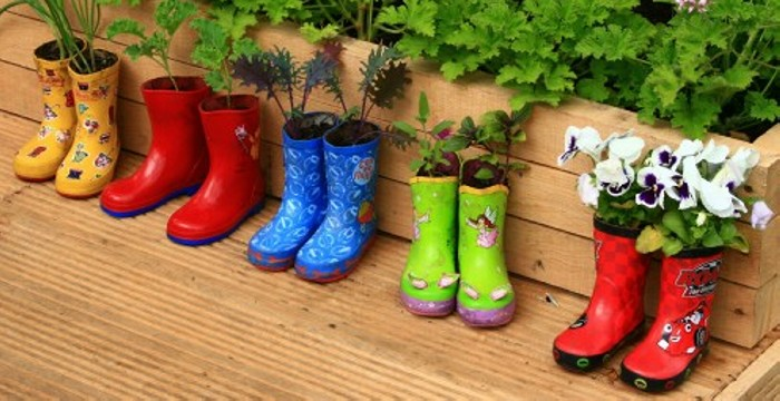 Recycled Colorful Shoes Garden Planters