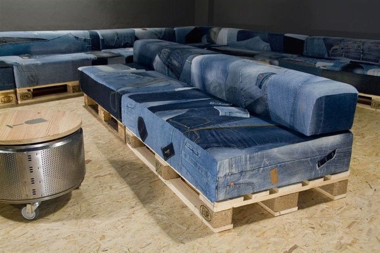 Delicieux Source · Recycled Denim Jeans Sofa Cover