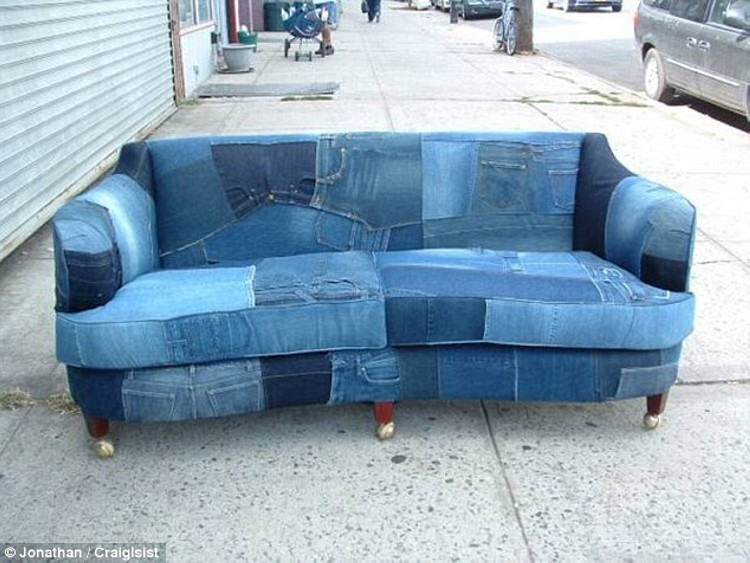 Recycled Denim Sofa Cover