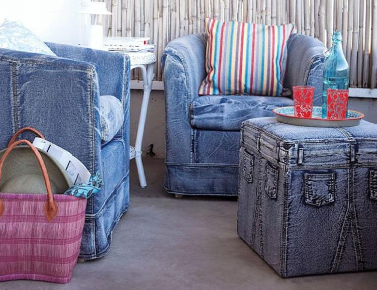 Source · Recycled Jeans Sofa Cover