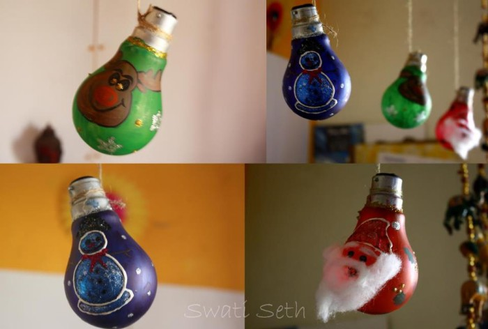 Diy decorations from recycled light bulbs recycled things for Handmade things from waste material for kids step by step