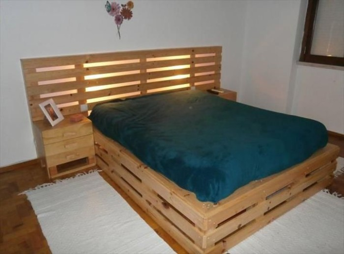 Recycled Pallet Bed Frame for Pinterest